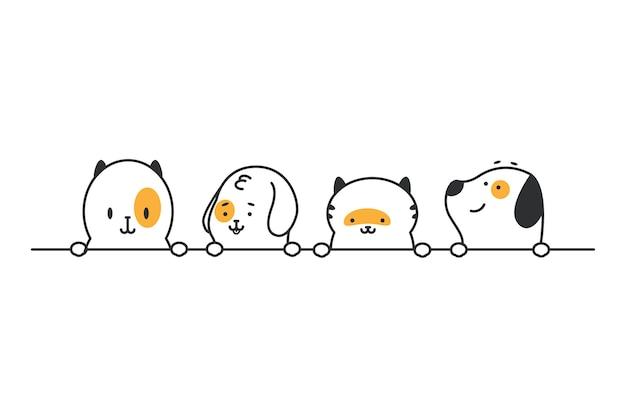 Śmieszne koty i psy głowy z rzędu. wektor kreskówka słodkie zwierzęta domowe granica na białym tle na białej przestrzeni.