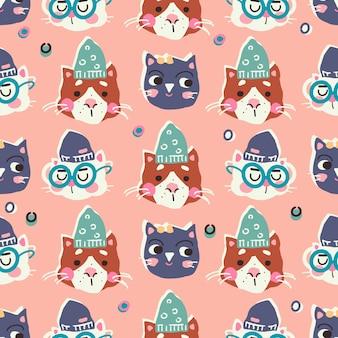 Śmieszne koty w czapki wzór