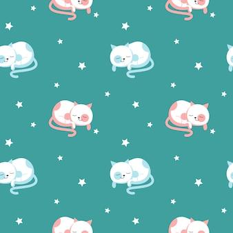 Śmieszne koty wektor wzór. kreatywne wzornictwo dla tkanin, tkanin, tapet, papieru do pakowania z uroczymi śpiącymi kotami.