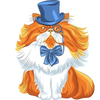 Śmieszne kreskówka hipster kot perski