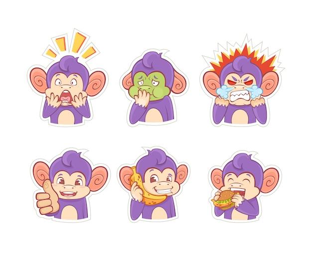 Śmieszne kreskówka naklejki małpa emocji