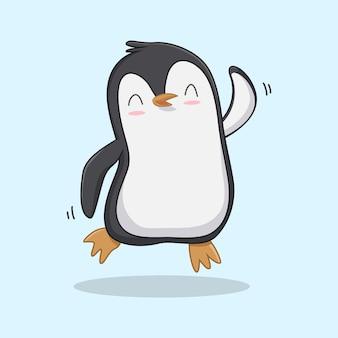 Śmieszne kreskówka pingwina na niebieskim tle