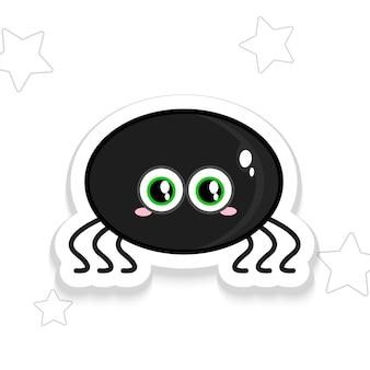 Śmieszne kreskówka rodzaju pająk wygląda prosto halloween naklejki. ilustracja wektorowa