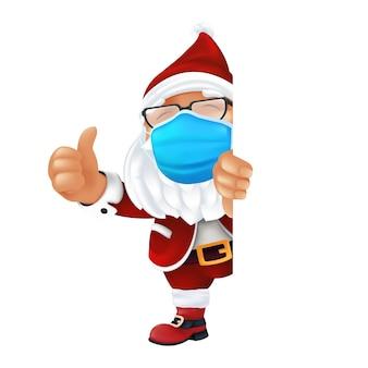 Śmieszne kreskówka święty mikołaj ubrany w chirurgiczną maskę ochronną.