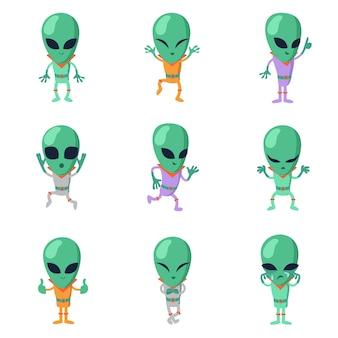 Śmieszne kreskówki kosmici zielone postacie humanoidalne