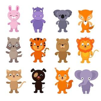 Śmieszne kreskówki młodych zwierząt wektor znaków kolekcji