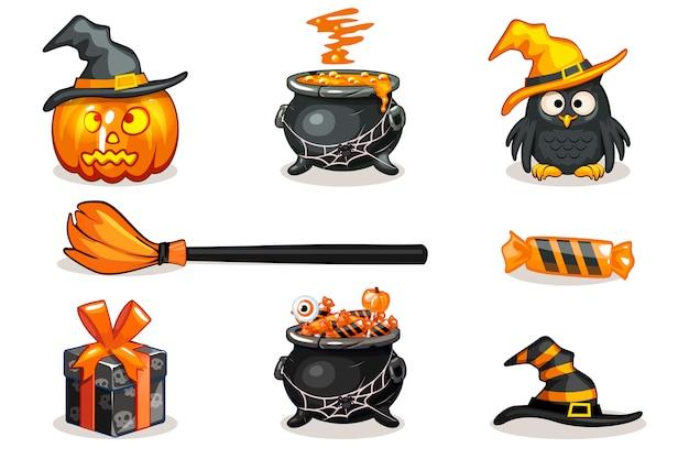 Śmieszne kreskówki pomarańczowe i czarne halloweenowe ikony