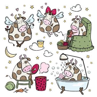 Śmieszne krowy. pięć kreskówka ręcznie rysowane ilustracji.