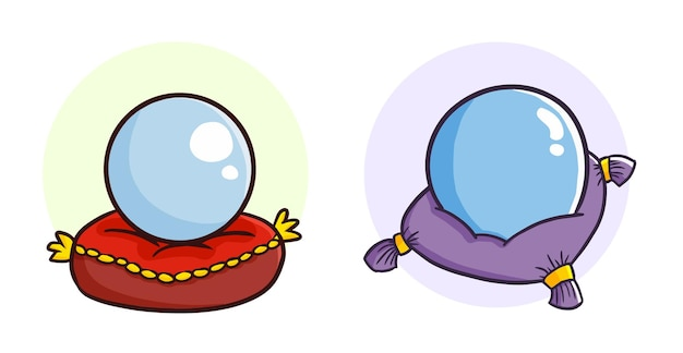 Śmieszne kryształowe kule na poduszce w prostym stylu doodle