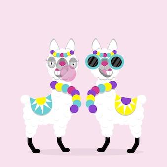 Śmieszne lamy alpaki z okularami i gumą na różowym tle. płaski obraz słodkie i zabawne zwierzę.