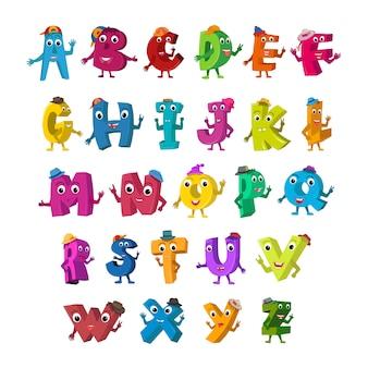 Śmieszne litery alfabetu.