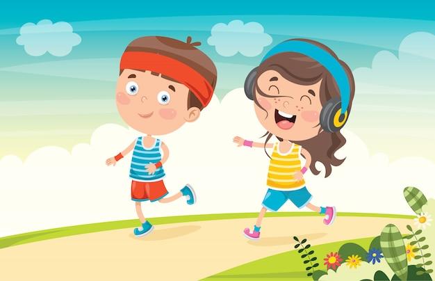 Śmieszne małe dzieci biegające na zewnątrz