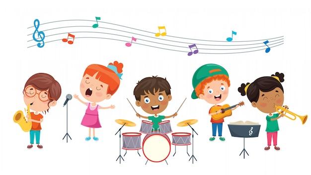 Śmieszne małe dzieci wykonujące muzykę
