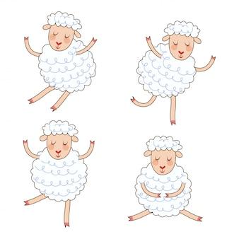 Śmieszne małe owce ustawione w różnych pozach