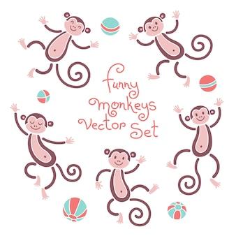 Śmieszne małpy wektor na białym tle zestaw ilustracji. piękne małpy i elementy kulki do projektowania.