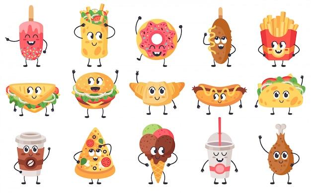 Śmieszne maskotki żywności. słodki doodle maskotka fast foodów, fast food z twarzami, zestaw ikon ilustracji szczęśliwy cheeseburger, pizza i rogalik. kanapka i przekąska z twarzą słodki, niezdrowy posiłek