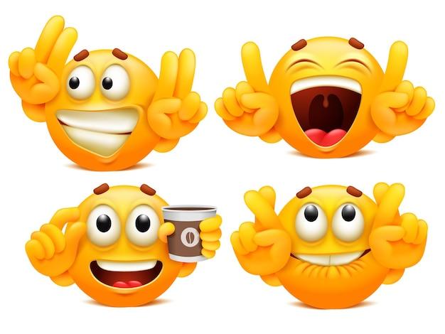 Śmieszne naklejki. zestaw czterech żółtych postaci z kreskówek emoji w różnych sytuacjach