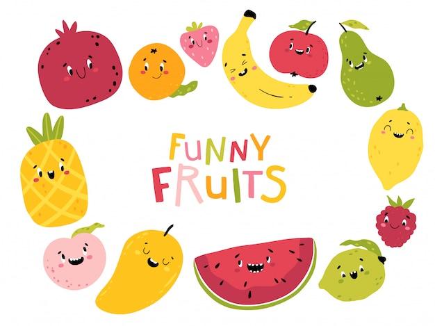 Śmieszne owoce. kolekcja kreskówek znaków kawaii. słodkie twarze jedzenia. kolorowe dziecinne ilustracje do projektowania. pojedynczo na białym tle