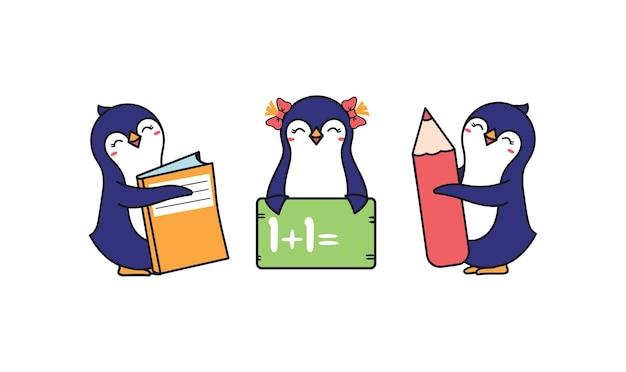 Śmieszne pingwiny szkolne chłopcy i dziewczynka. śmieszne postacie zwierząt