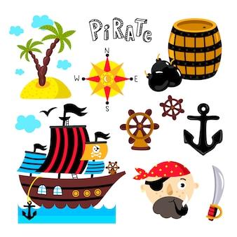 Śmieszne piratów elementy na białym tle