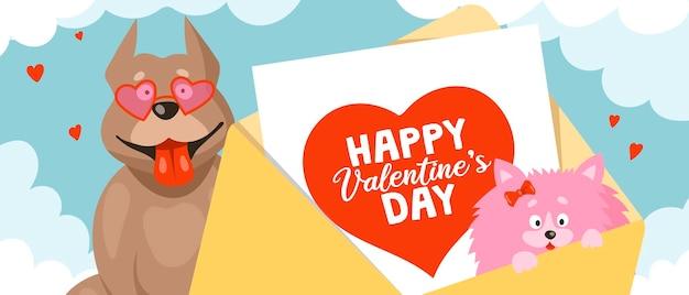 Śmieszne pitbulle w okularach przeciwsłonecznych w kształcie serca i małym szpicem w kopercie z kartką walentynkową