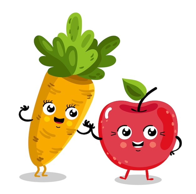 Śmieszne postaci z kreskówek z owoców i warzyw
