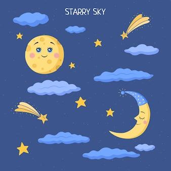 Śmieszne postacie na rozgwieżdżonym niebie na ciemnoniebieskim tle. kawaii. księżyc, miesiąc i gwiazdy w stylu płaski. ilustracja wektorowa