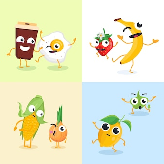 Śmieszne postacie żywności - zestaw nowoczesnych ilustracji wektorowych. słodkie emoji filiżanki kawy, banana, jajka sadzonego, truskawki, cytryny, kukurydzy, cebuli, wasabi. wysokiej jakości kolekcja emotikonów z kreskówek