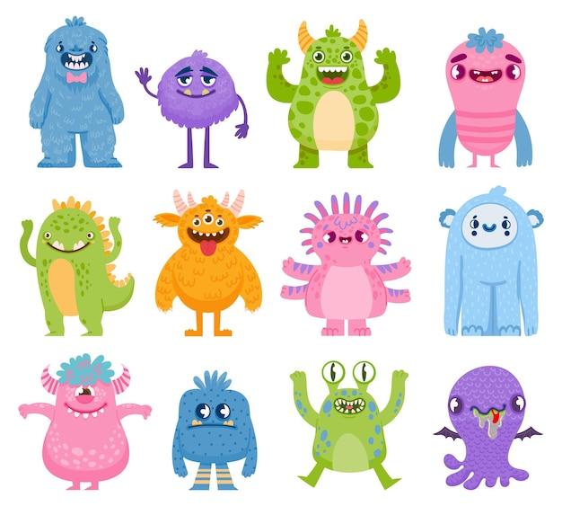 Śmieszne potwory. kreskówka słodkie i przerażające stworzenia z rogami i zębami. halloweenowy potwór i obce postacie. przyjazne potwory wektor zestaw. wesołego halloween zwierzę, stwór zabawna bestia ilustracja