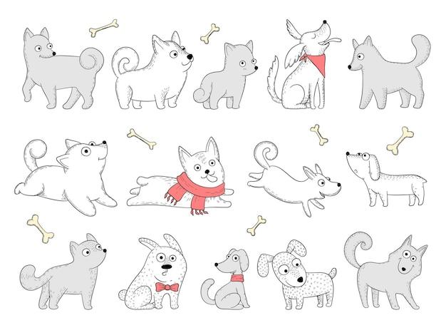 Śmieszne psy. domowe postacie szczeniaka w akcji pozuje siedząc, skacząc, grając zwierzęta wektorowe. pozycja psa domowego, zabawna ilustracja rasy szczeniąt