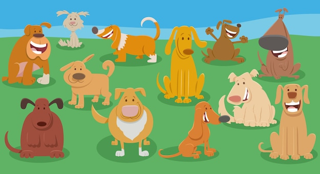 Śmieszne psy kreskówek zwierząt znaków grupy