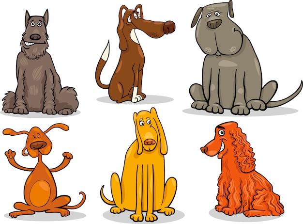 Śmieszne psy ustawić ilustracja kreskówka
