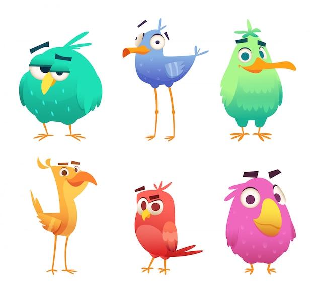 Śmieszne ptaki z kreskówek. twarze uroczych zwierzątek w kolorze orłów szczęśliwych ptaków. znaki clipart na białym tle