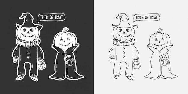 Śmieszne ręcznie rysowane ilustracja dyni