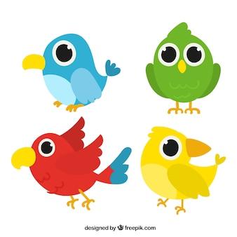 Śmieszne ręcznie rysowane kolekcja ptaków