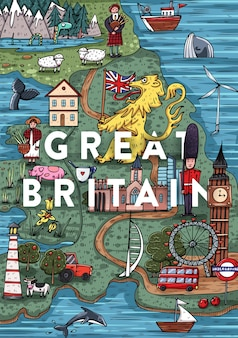 Śmieszne ręcznie rysowane kreskówka mapa wielkiej brytanii z najpopularniejszymi interesującymi miejscami. ilustracji wektorowych