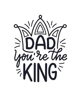 Śmieszne ręcznie rysowane napis cytat na dzień ojca kartkę z życzeniami