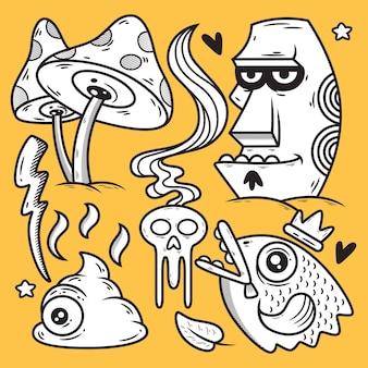Śmieszne ręcznie rysowane potwór. doodle ilustracja