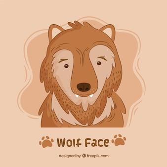 Śmieszne ręcznie rysowane tle charakteru wilka