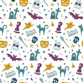 Śmieszne ręcznie rysowane wzór na halloween.