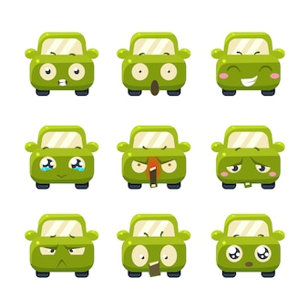 Śmieszne samochody z zestawem ilustracji emotikony