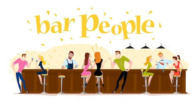. . śmieszne słodkie ludzie przy kawiarnianym stoliku, barze. chłopiec i dziewczynka siedzi w restauracji na randkę. wieczorna impreza. kelner, postacie gości.