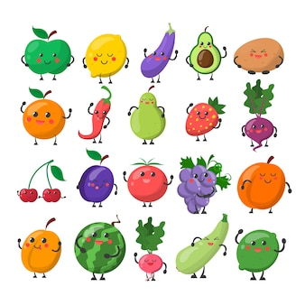 Śmieszne słodkie owoce i warzywa z szczęśliwą twarzą. jabłko, cytryna, gruszka i pomarańcza. postać z kreskówki uśmiech i zabawy na białym tle.