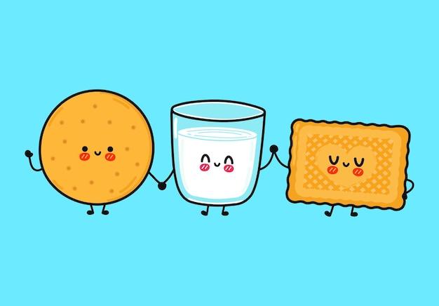 Śmieszne słodkie szczęśliwe ciasteczka i zestaw kieliszków mleka z postaciami