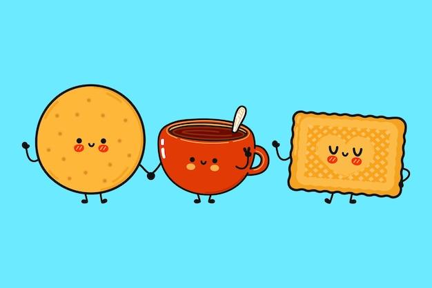 Śmieszne słodkie szczęśliwe ciasteczka i zestaw znaków z filiżanką kawy