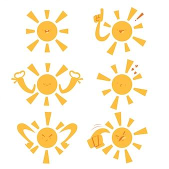 Śmieszne słońce z różnymi emocjami i wyrażeniami