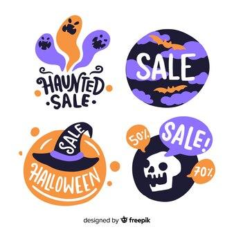 Śmieszne stworzenia halloweenowe do kolekcji etykiet sprzedaży