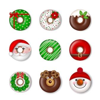 Śmieszne świąteczne pączki na białym tle świąteczne słodycze