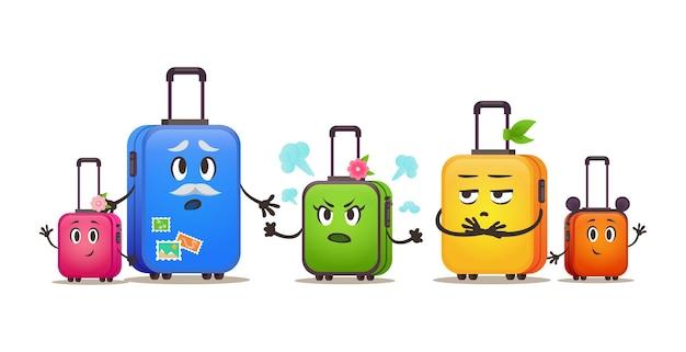 Śmieszne torby podróżne rodzina na wakacjach zestaw walizek inny rozmiar bagażu
