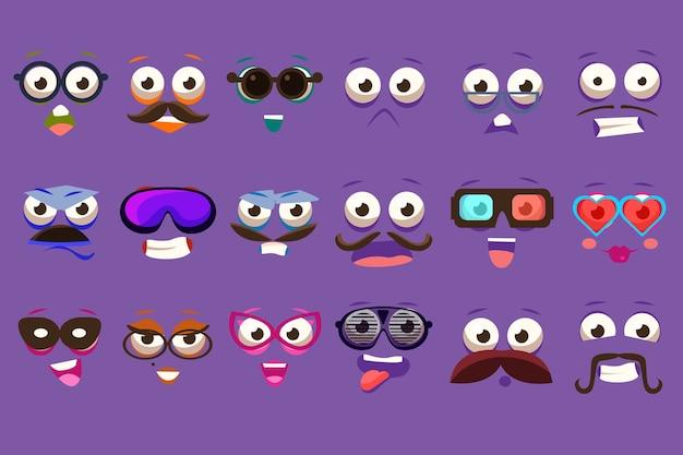 Śmieszne twarze zestaw z różnymi emocjami ilustracje
